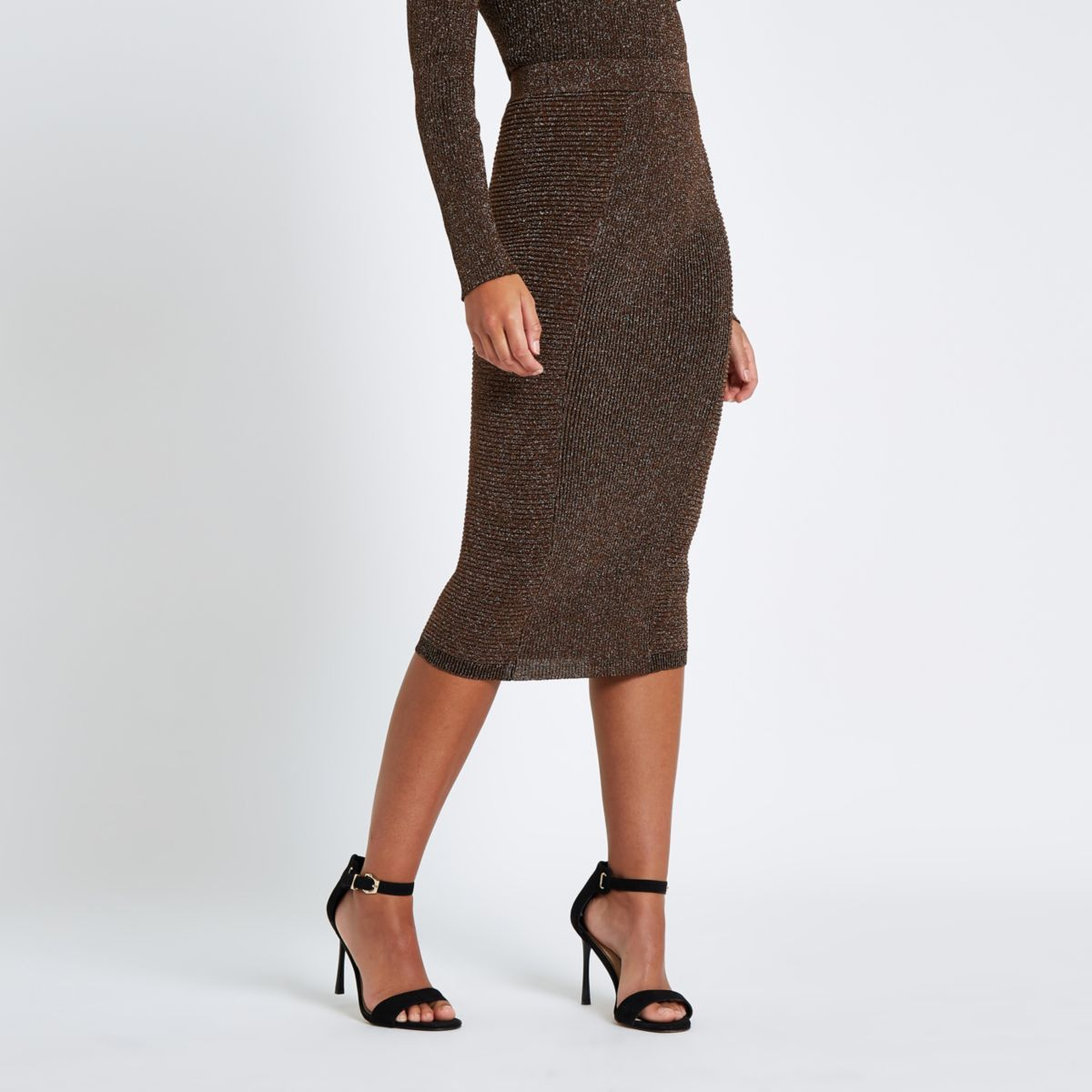 Brown metallic pencil skirt