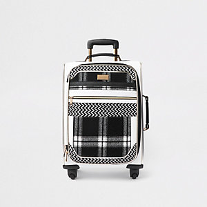 White mono check panel four wheel suitcase