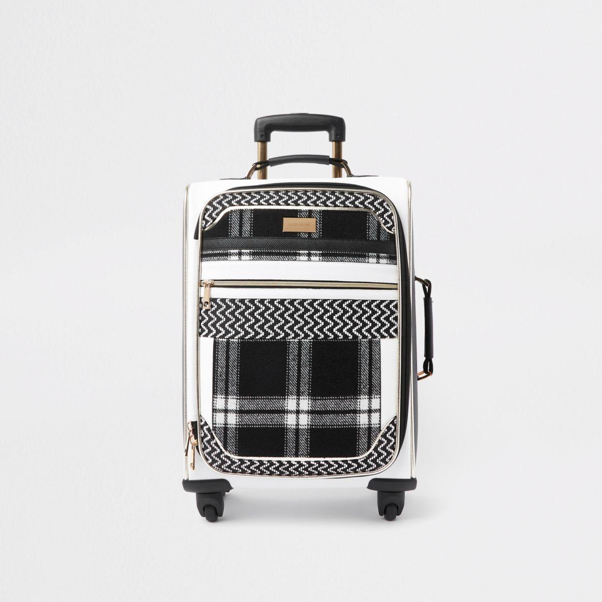White mono check panel four wheel suitcase