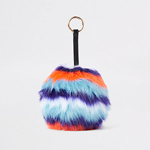 Orange stripe faux fur pom pom keyring