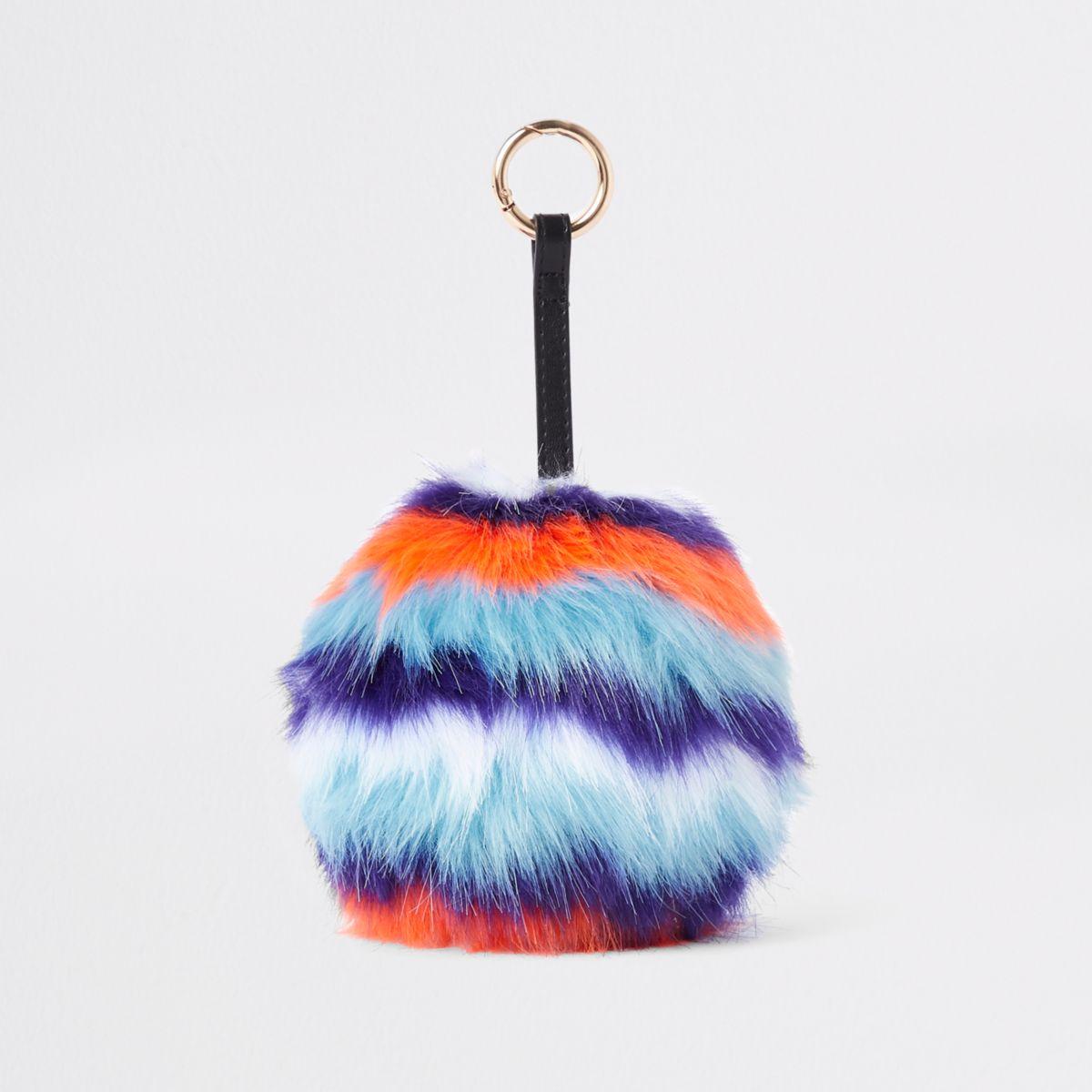 Orange stripe faux fur pom pom keyring