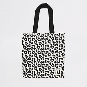 Beige leopard print shopper tote bag