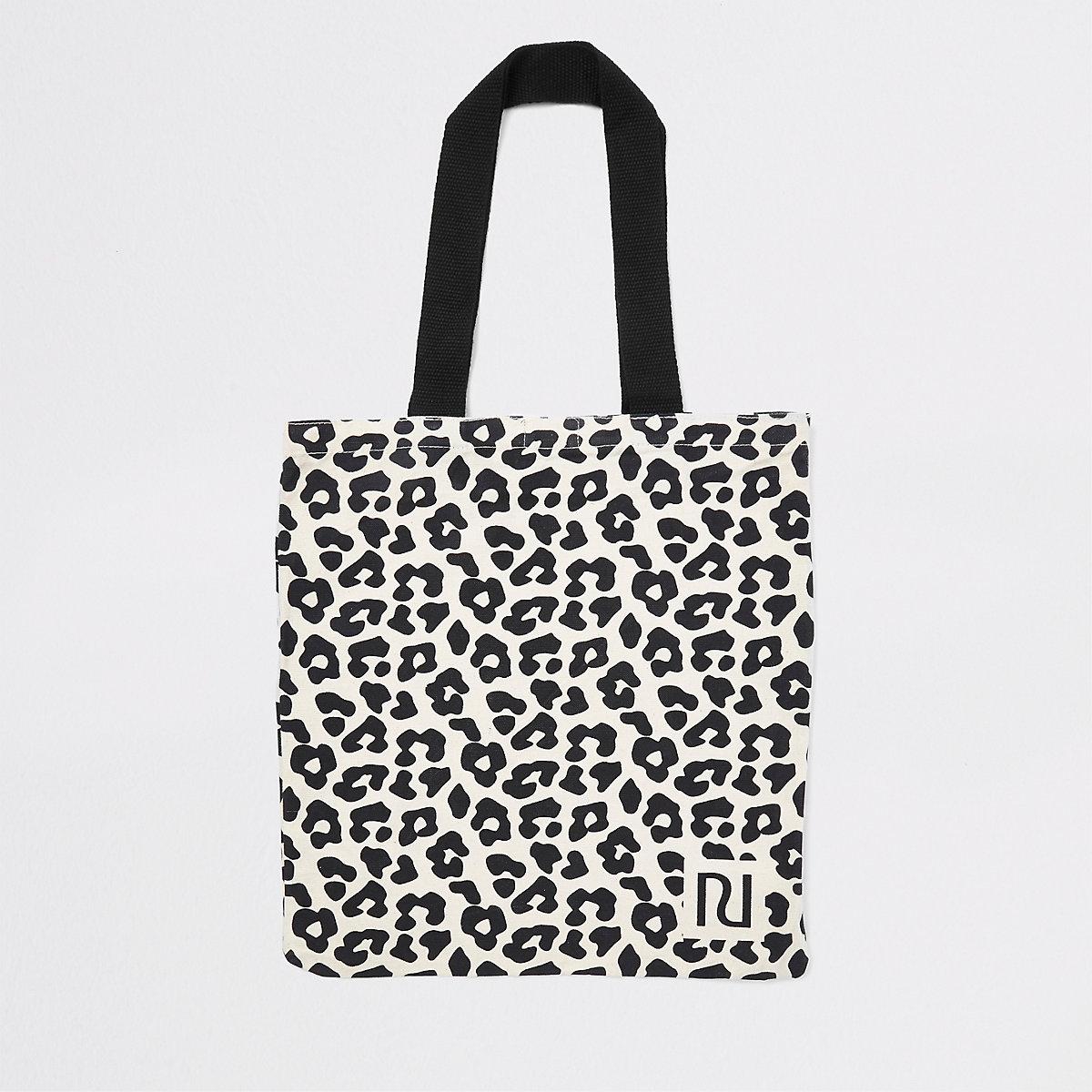 Cabas à imprimé léopard beige