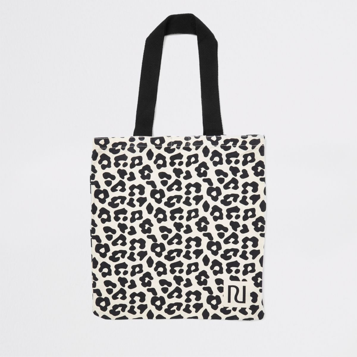 Beige leopard print shopper tote bag