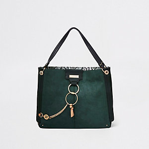 Dark green oversized metal ring slouch bag