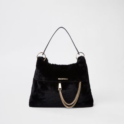 Black Faux Fur Chain Front Slouch Bag by River Island