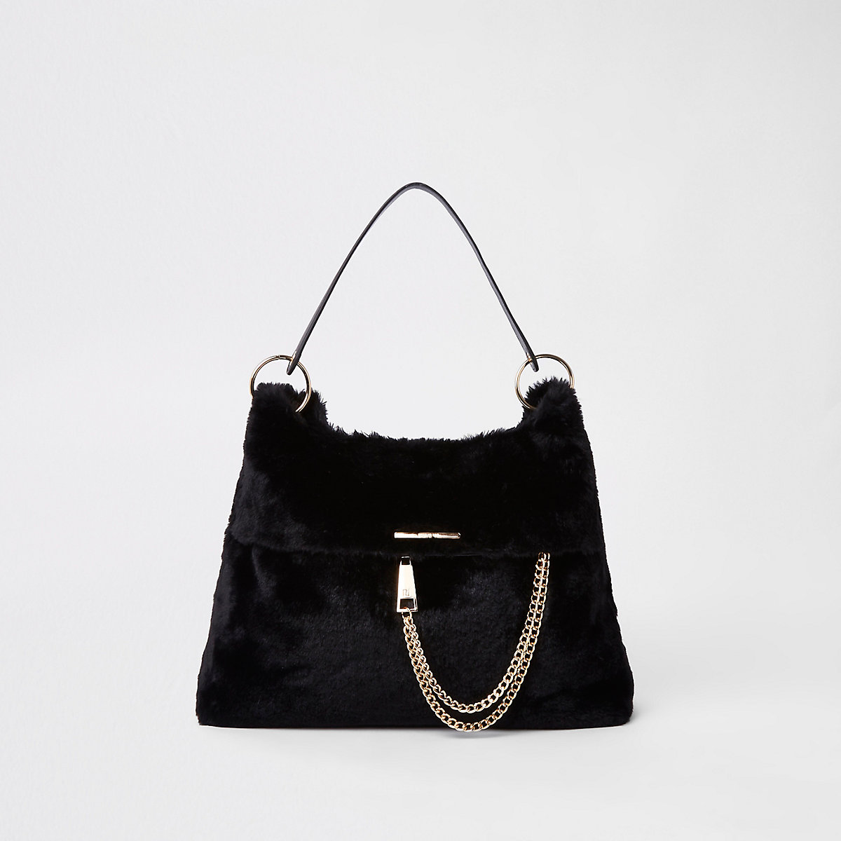 Black faux fur chain front slouch bag