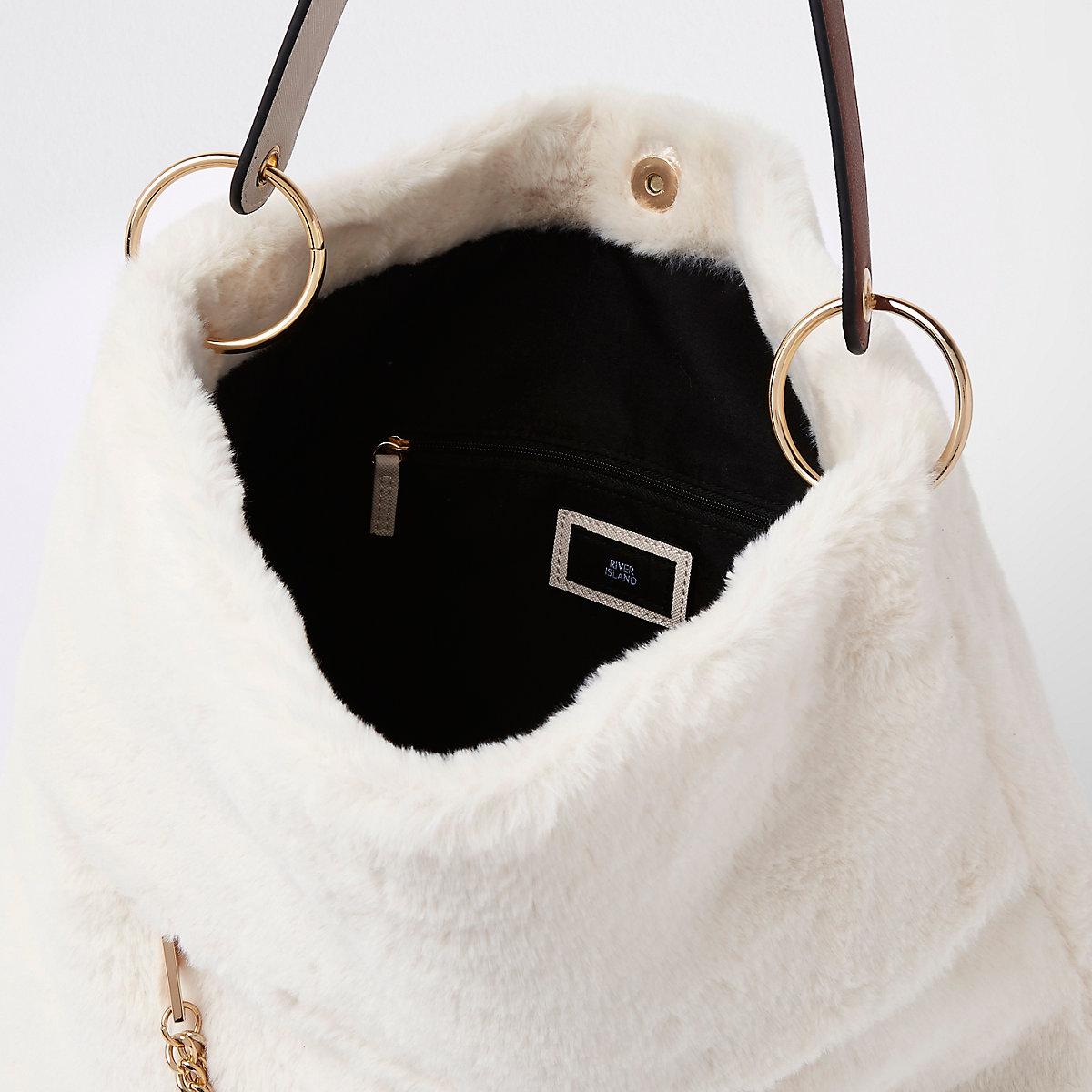 9082553d82 Cream faux fur chain front slouch bag - Shoulder Bags - Bags ...