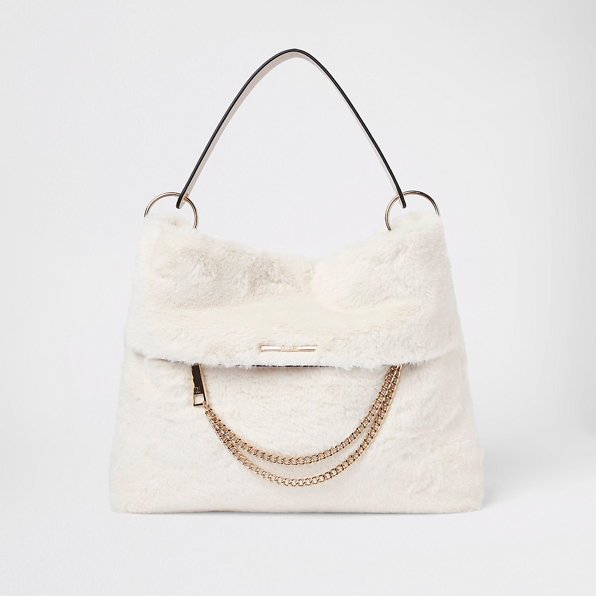 Cream faux fur chain front slouch bag