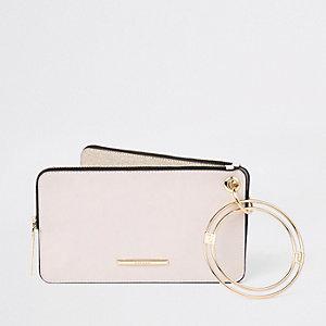 Gold tone glitter wristlet pouch