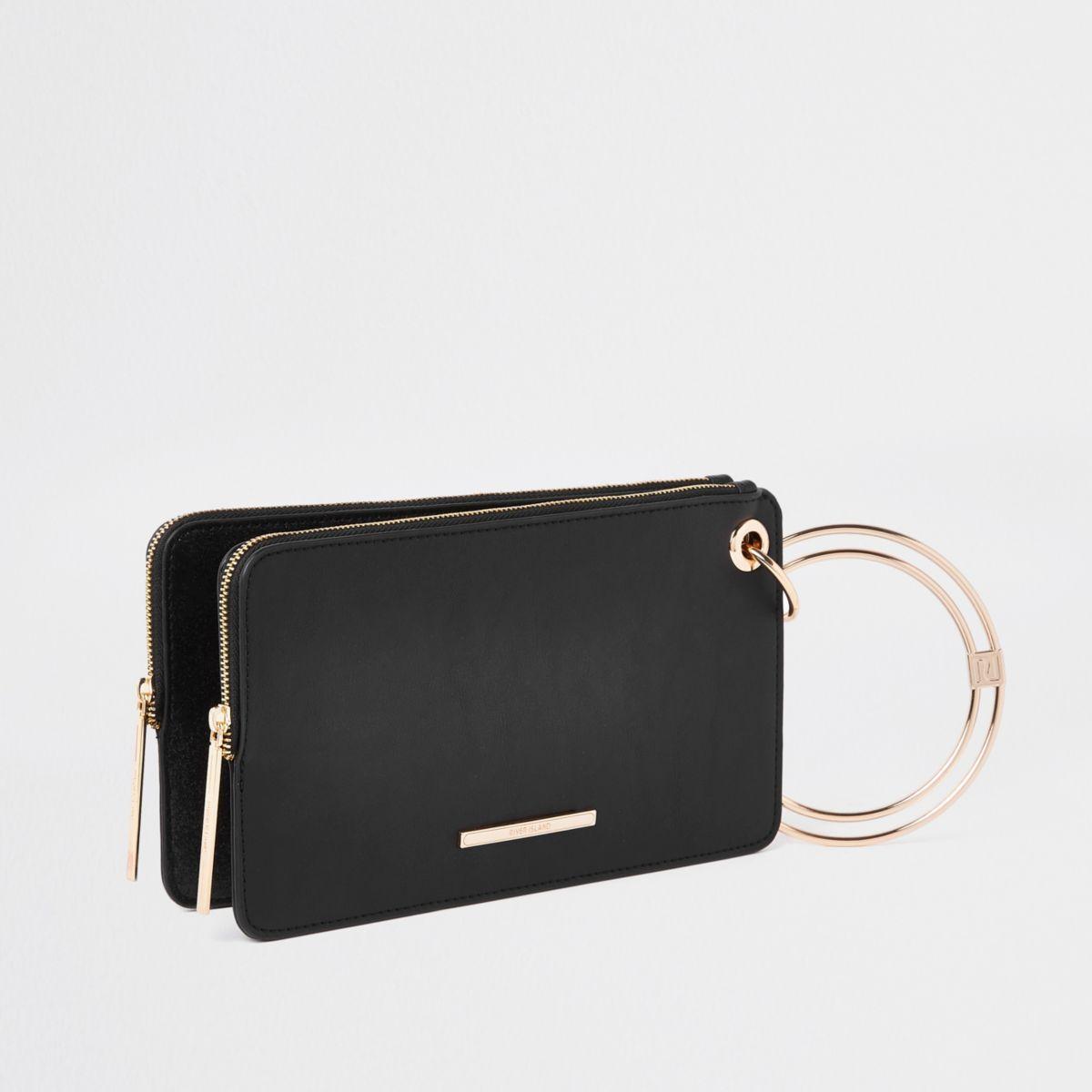 Black glitter wristlet pouch