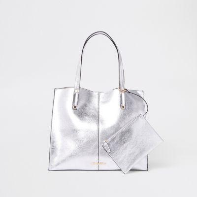 Silver Metallic Beach Bag by River Island
