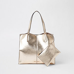 Gold metallic beach tote bag
