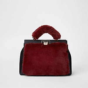 Dark red faux fur triple compartment bag