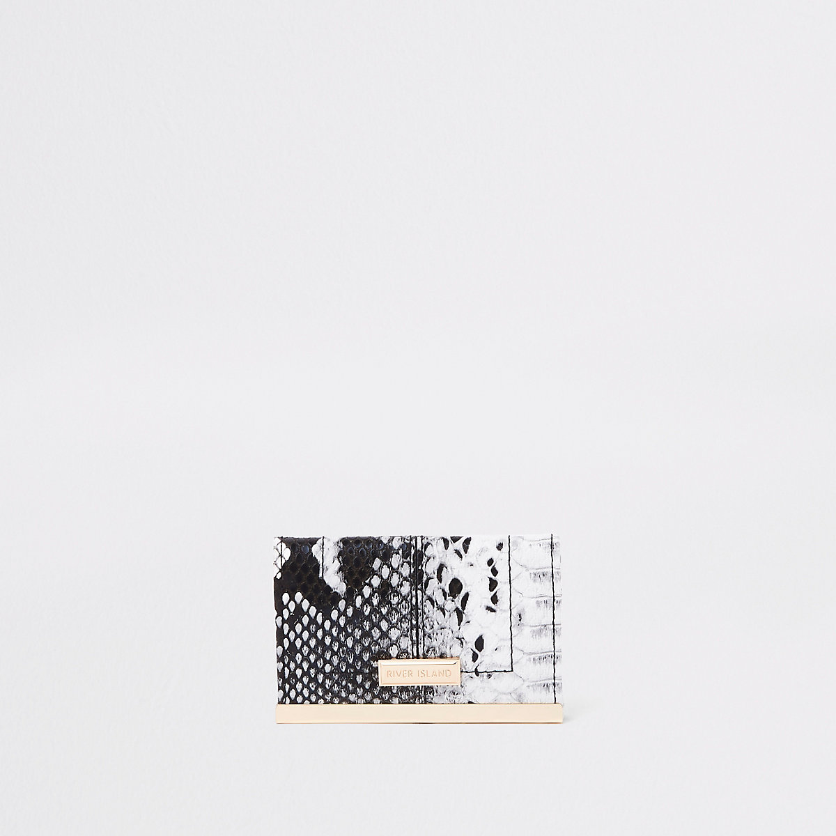White snake print travel card holder