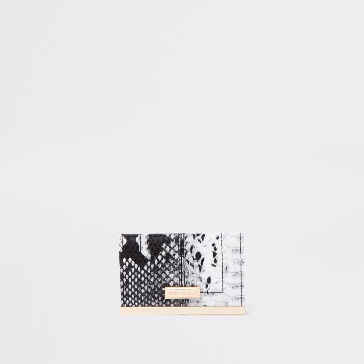 White snake print travel card holder