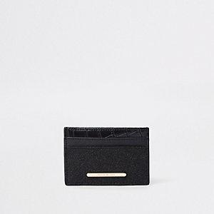 Porte-cartes noir à empiècement à paillettes