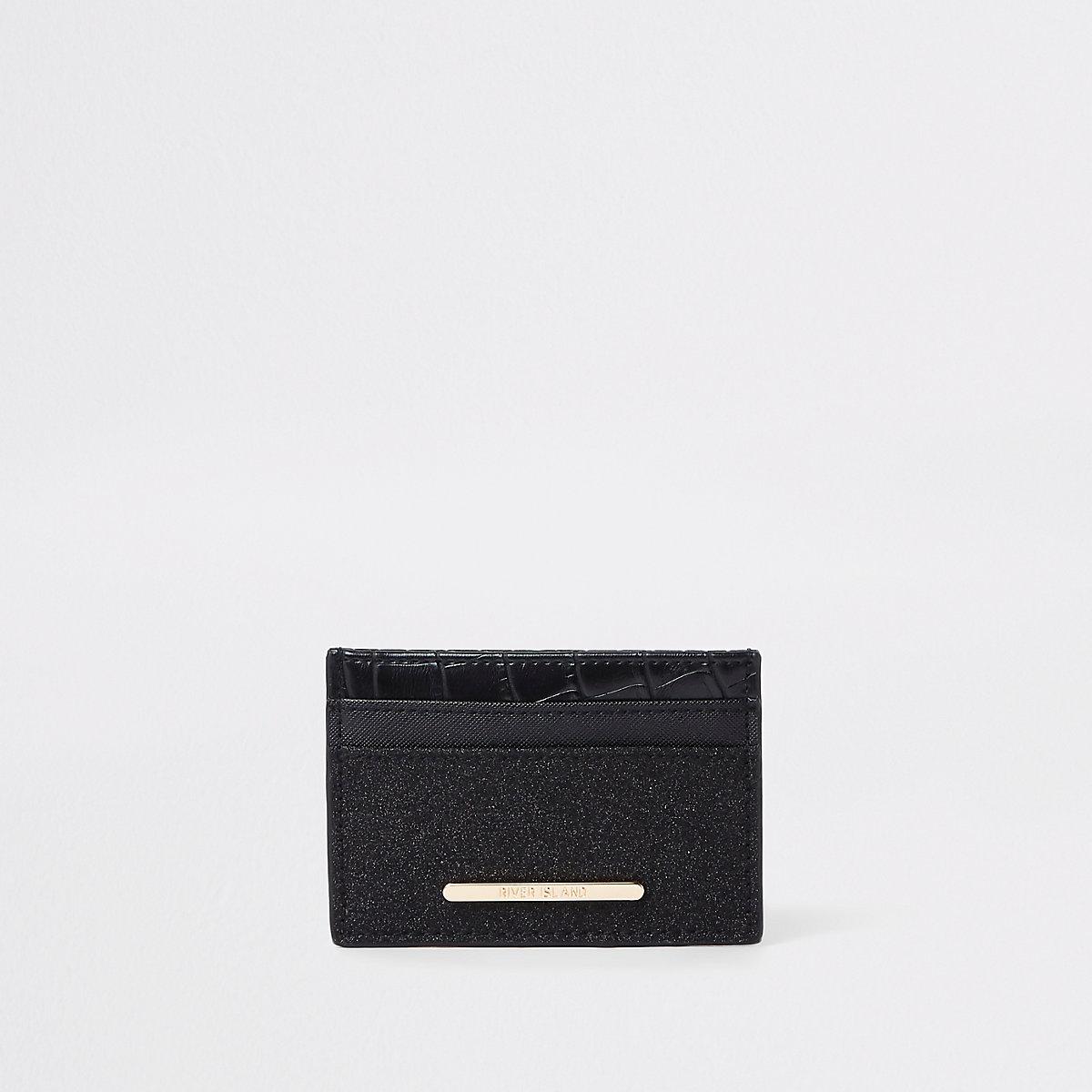 Black glitter panel card holder