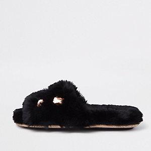 Black faux fur jewel embellished mules