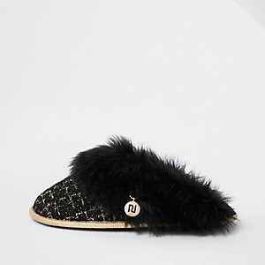 Black boucle faux fur trim slippers