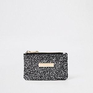 Black glitter zip pouch card holder
