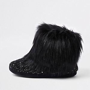 Zwarte pantoffellaarzen met imitatiebont