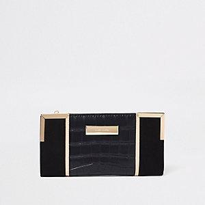 Zwarte uitvouwbare portemonnee met krokodillenprint en metallic paneel