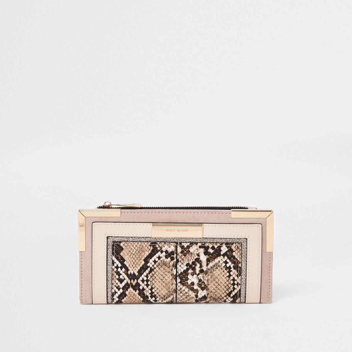 Light biege snake embossed foldout purse