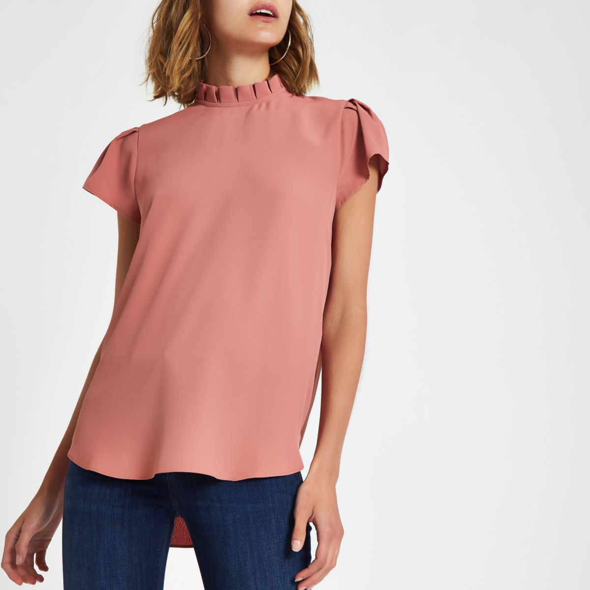 Pink frill neck shell top