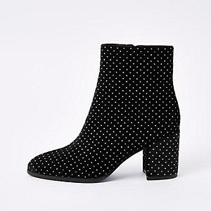 Black glitter block heel ankle boots