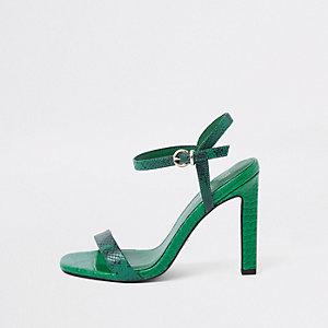 Groene minimalistische sandalen met slangenprint in reliëf