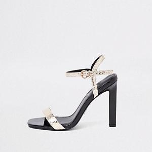 Zwart metallic minimalistische sandalen