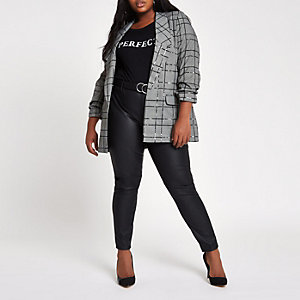 Plus grey sequin check print blazer