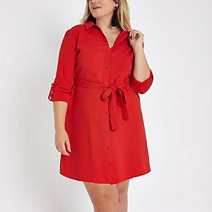Plus – Rotes Midi-Blusenkleid
