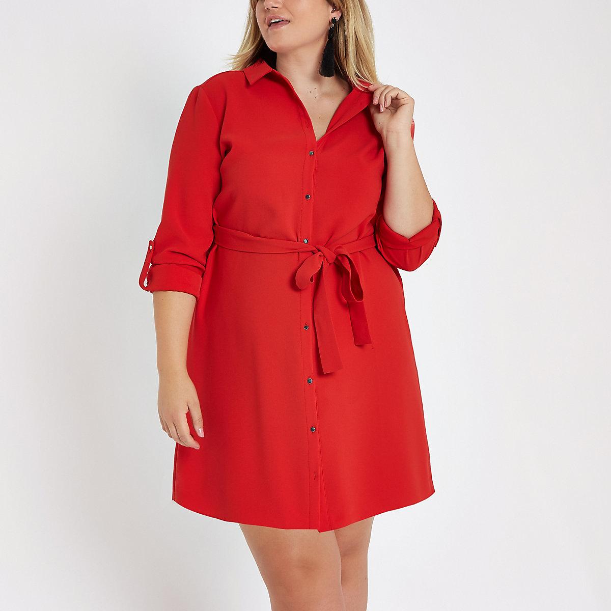 Plus red midi shirt dress