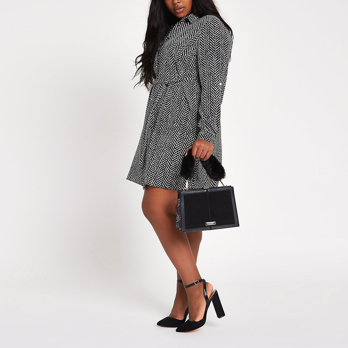 Plus black print shirt dress