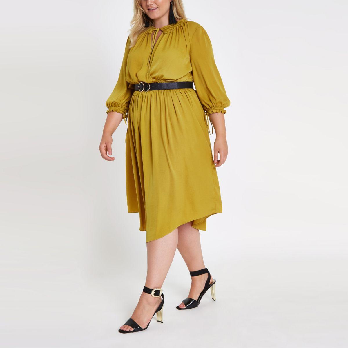 Plus yellow shirred waist swing dress