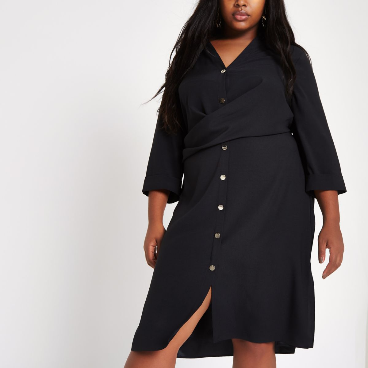 Plus black twist front midi shirt dress