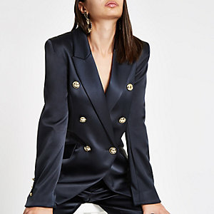 Navy satin double breasted tux jacket