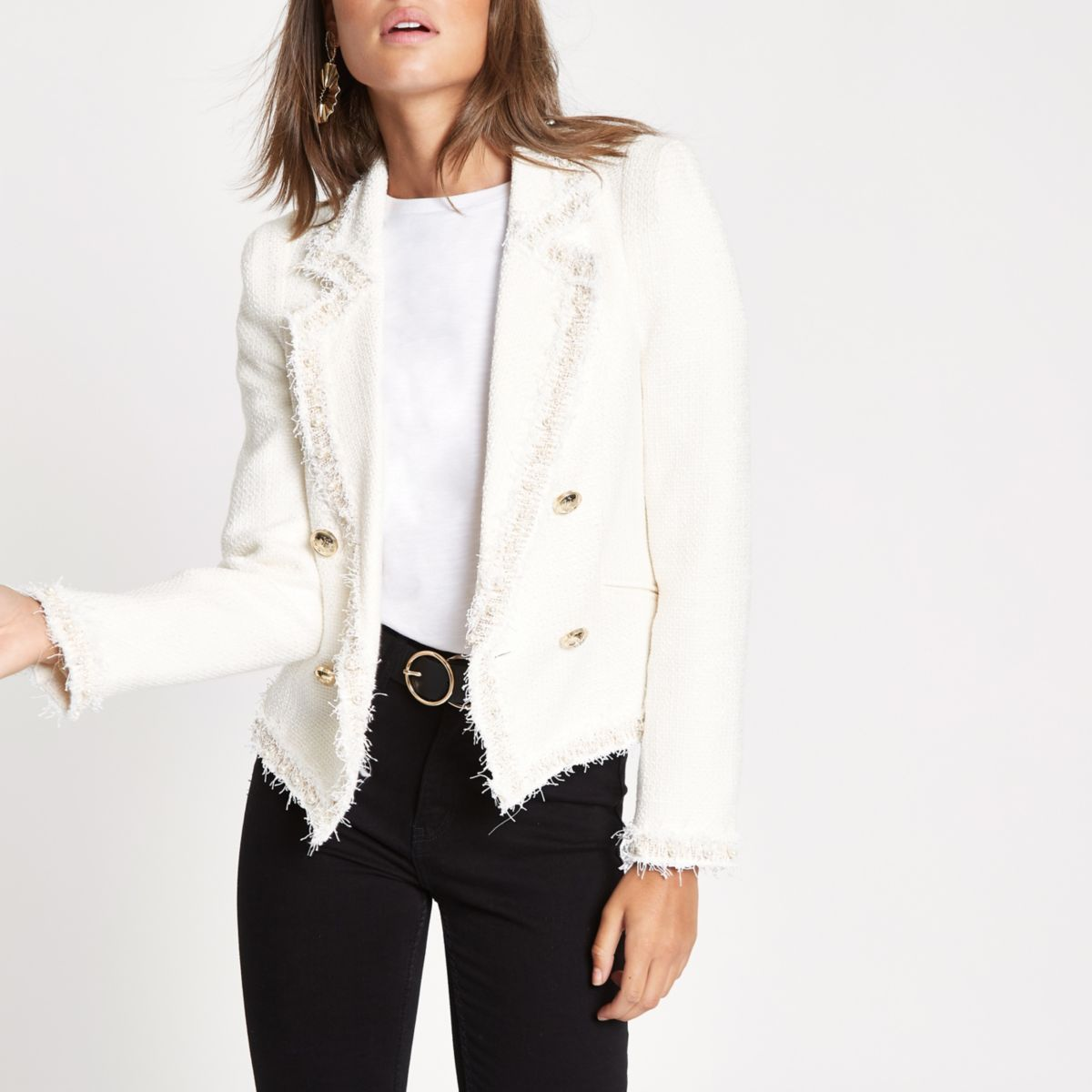 Cream boucle pearl double-breasted jacket