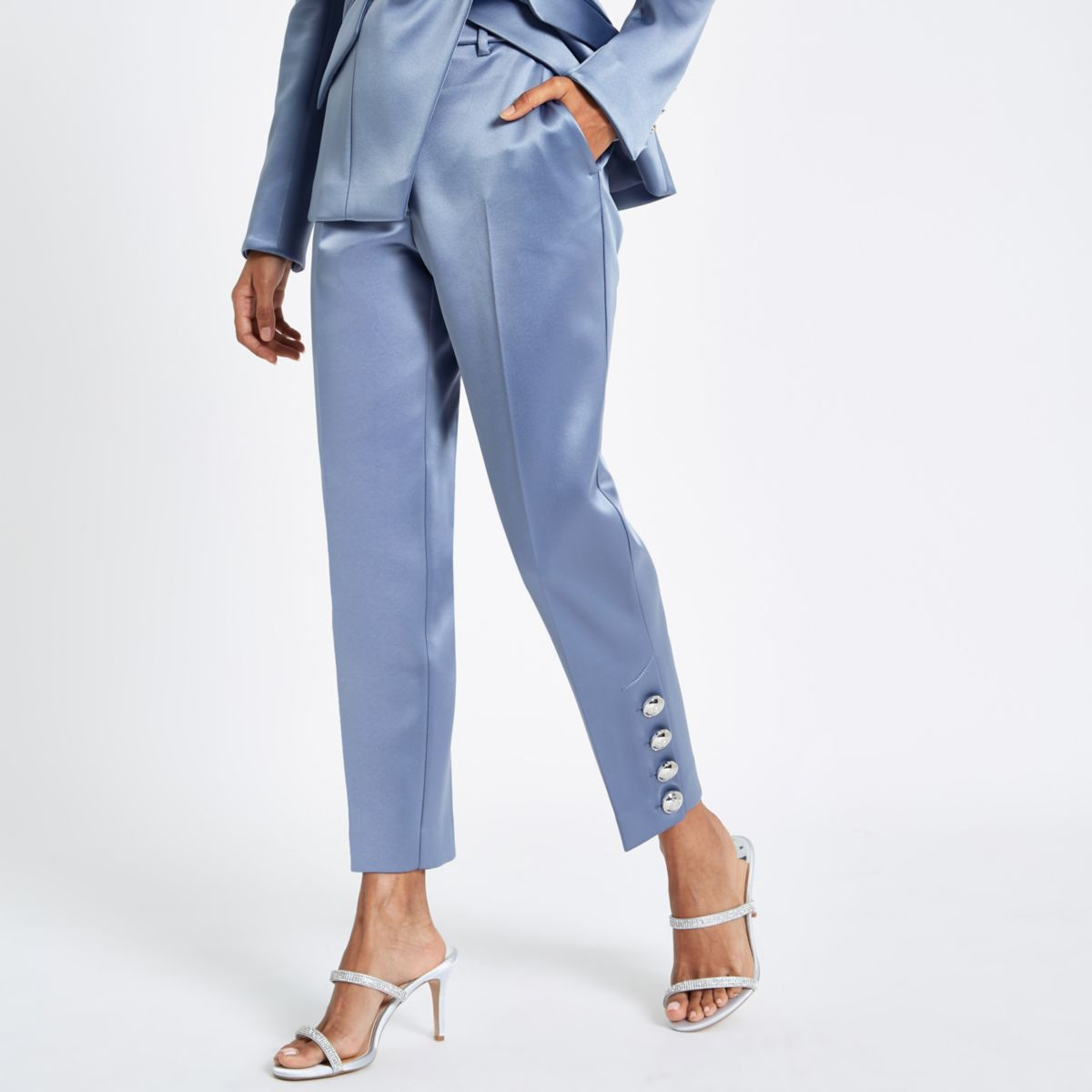 Petite light blue satin cigarette pants