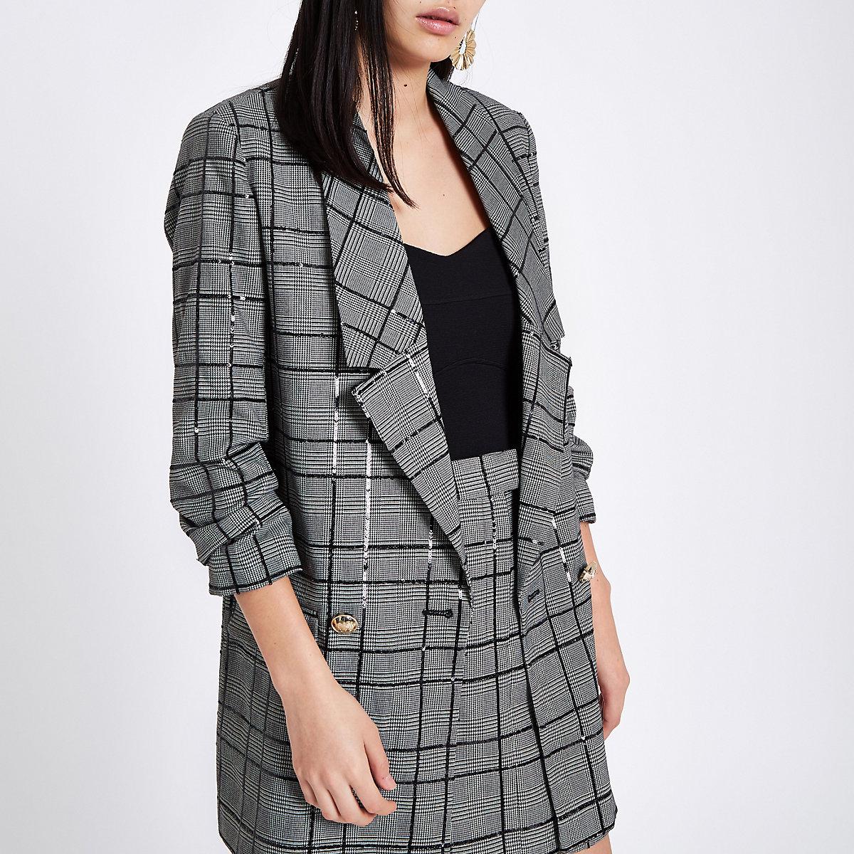 Black check sequin embellished blazer