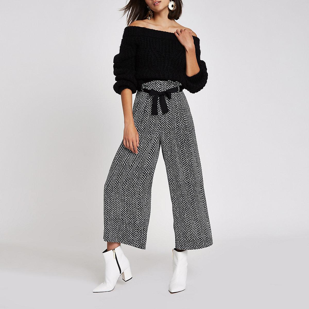 Black herringbone culotte trousers