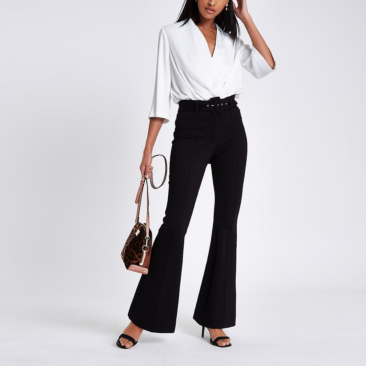 Black ponte flare belted pants