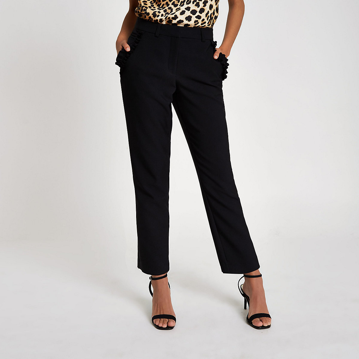 Black frill pocket cigarette trousers