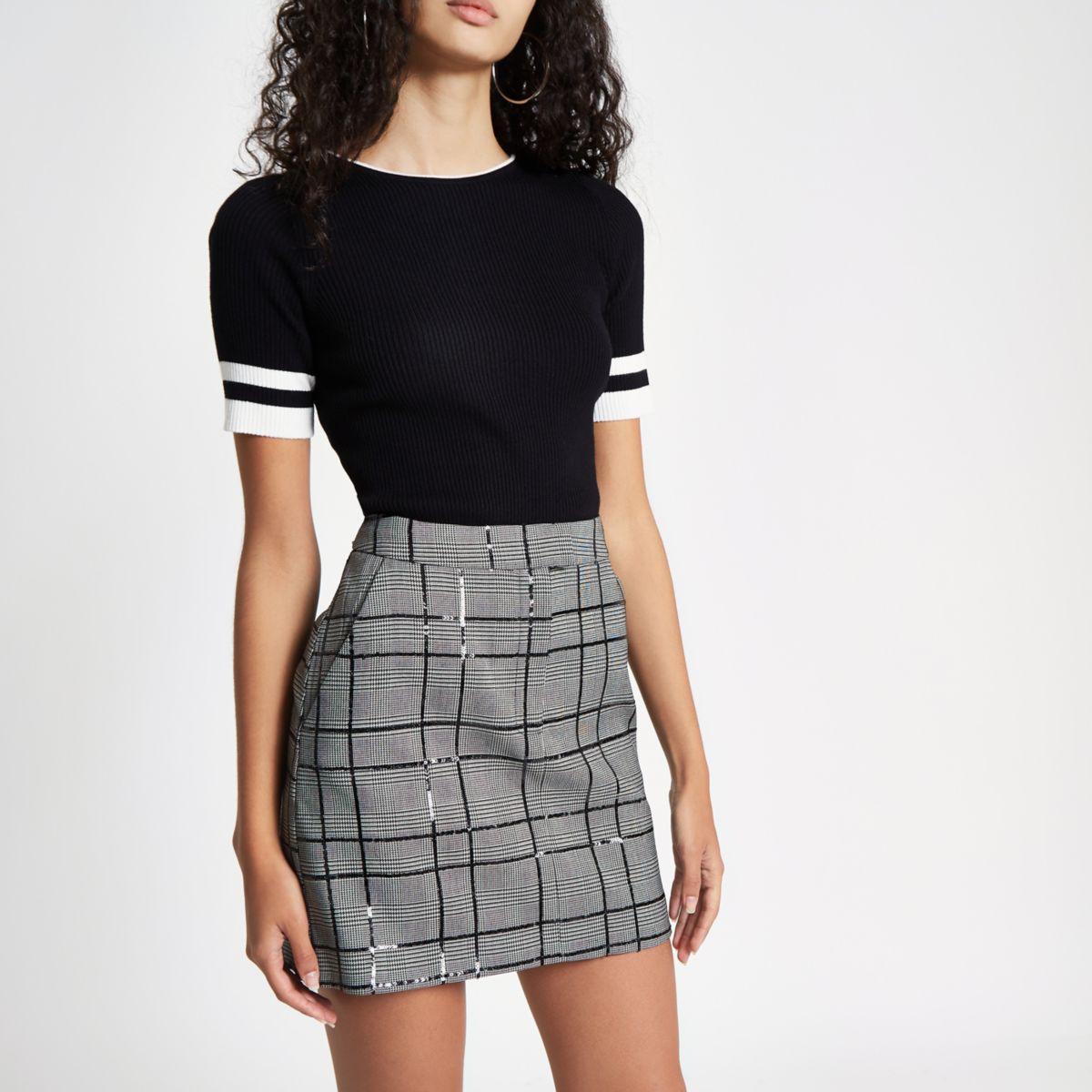 Grey check sequin embellished mini skirt