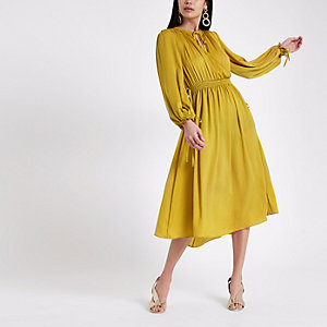 Yellow shirred waist swing dress