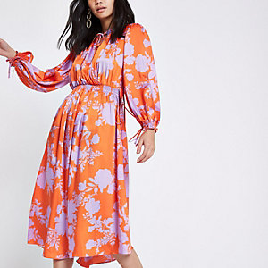 Red floral tie neck shirred midi dress