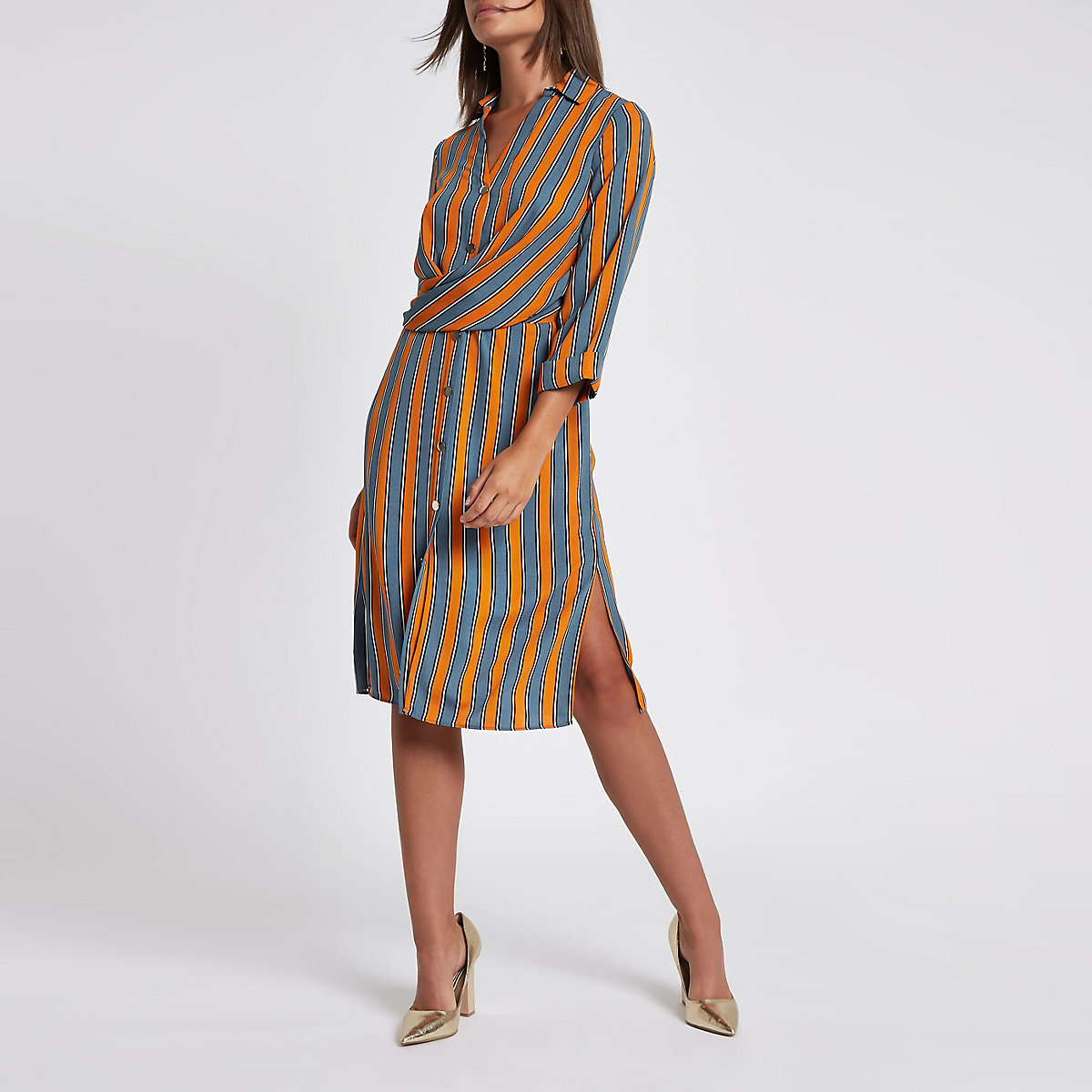 Orange stripe twist front shirt dress