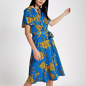 Blue floral tie front midi dress